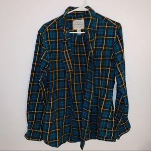 ST JOHN'S BAY Blue, Yellow And Black Plaid Shirt